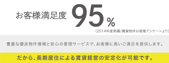 お客様満足度95%